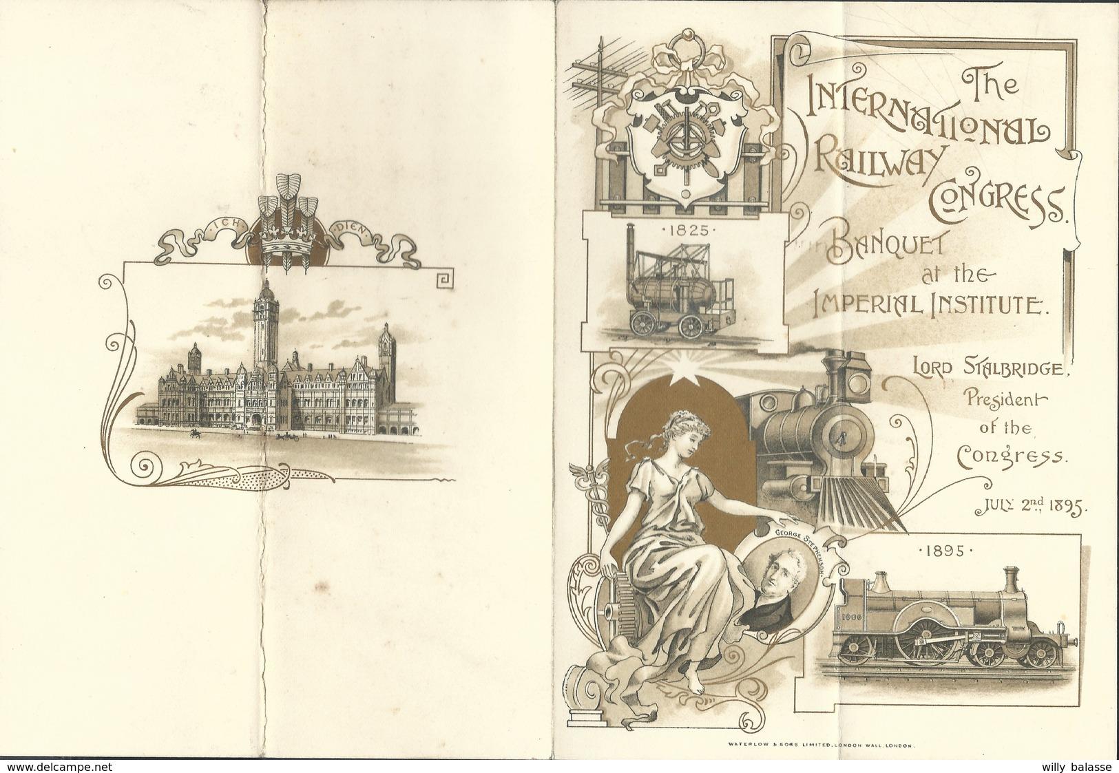 "Menu De Londres 1895 ""The International Railway Congress Illustré Locomotive "" - Menus"