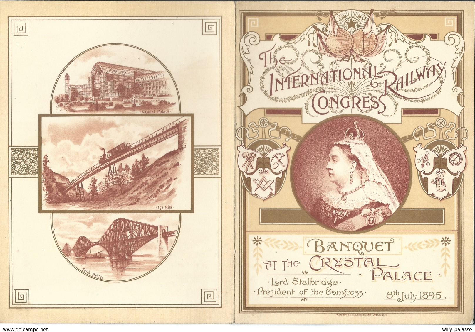 Menu 1895 The International Railway Congress At Crystal Palace Illustré Train - Menus