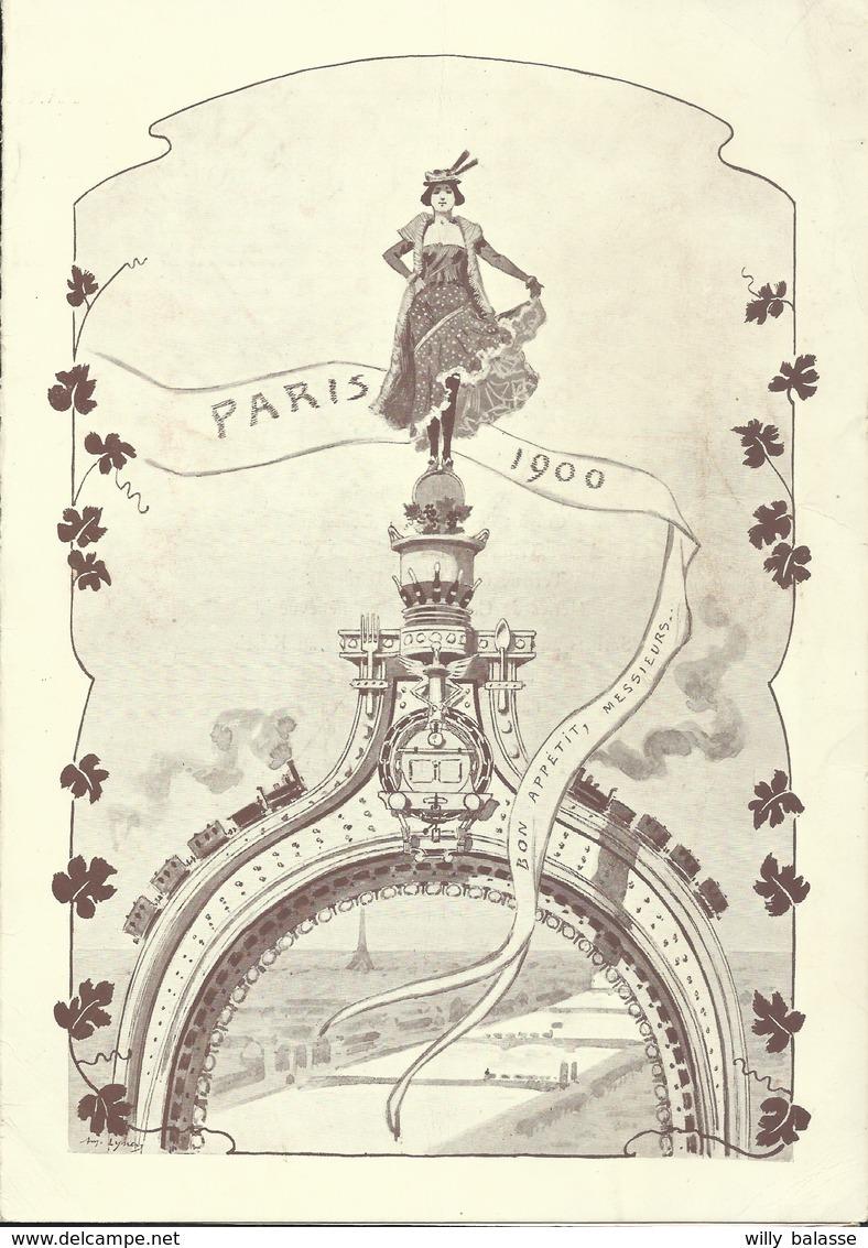 Menu 1900 Paris Congrès Des Chemins De Fer Illustré Train Par A. Linen - Menus