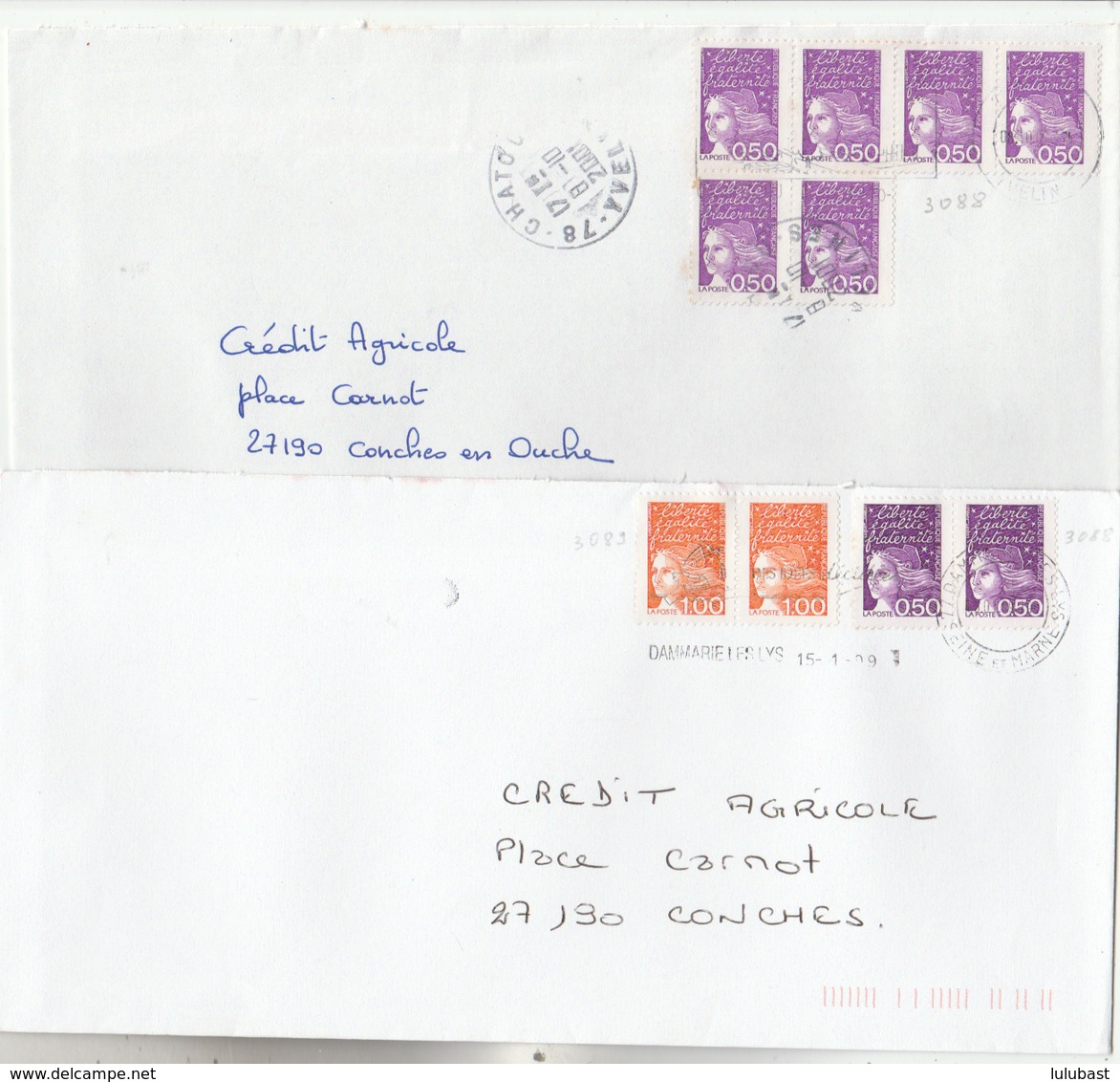 Deux Lettres Avec Marianne De LUQUET - N° 3088 ( Bloc De 6) Et 3058 + 3089 (2 Paires). (TTB) - Marcophilie (Lettres)