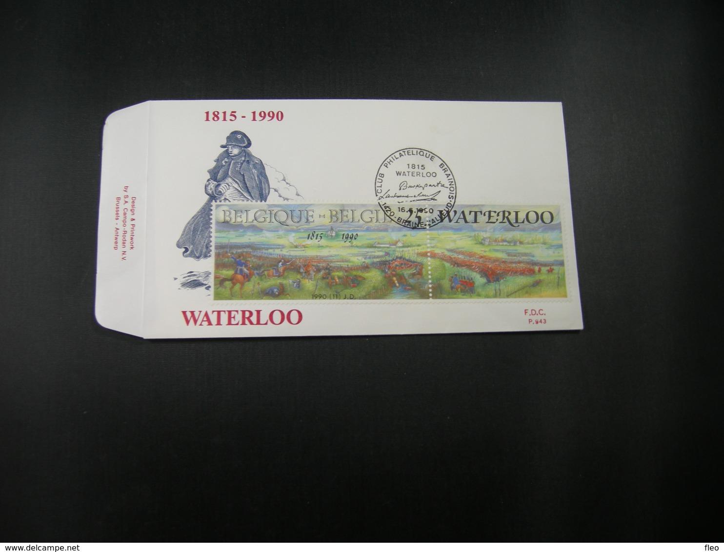 """BELG.1990 2376 FDC (Braine-Alleud) : """" WATERLOO """" - 1981-90"""