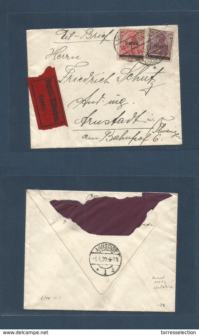Sarre. 1920 (31 March) Neunkirchen - Arnstadt Express Multifkd Envelope. MIXED OVERPRINT TYPES, Cds. Fine + Unsual. - Allemagne