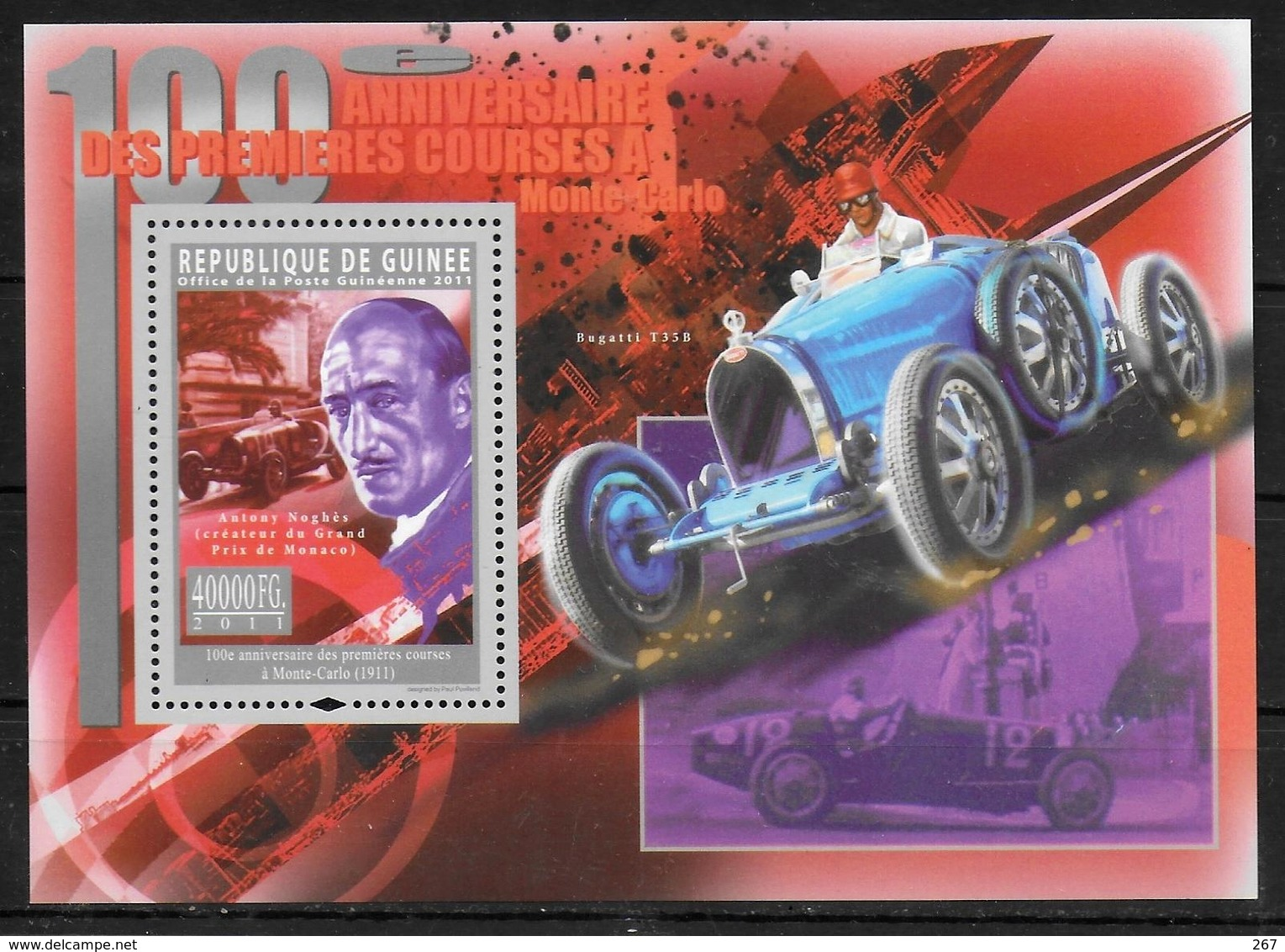 GUINEE  BF 1268  * *  ( Cote 20e ) Automobile Anthony Noghes Prix De Monaco - Automobilismo