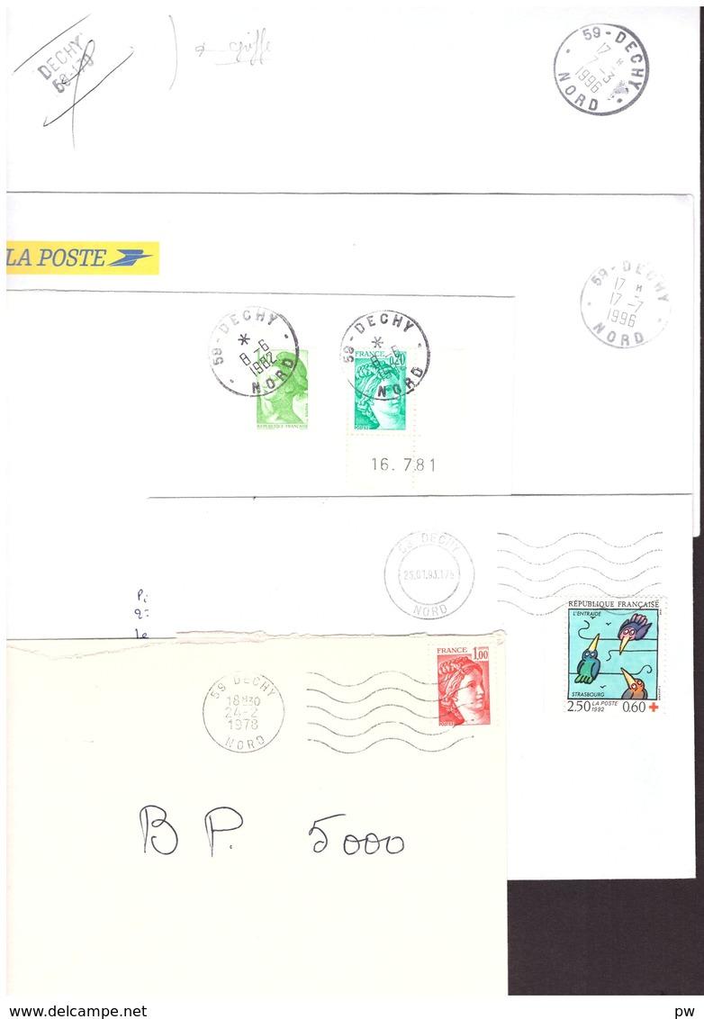 FRANCE '59 DECHY' 1978/96  5 MARQUES POSTALES Et  OBLITERATIONS - Marcophilie (Lettres)