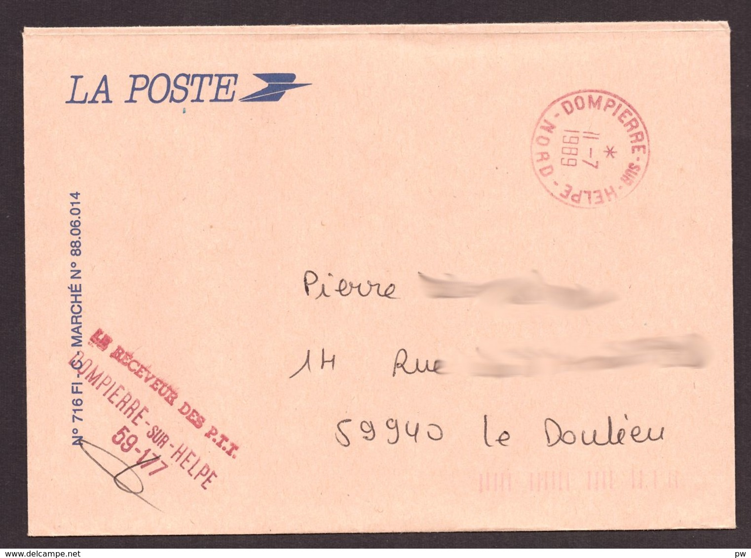 FRANCE '59 DOMPIERRE SUR HELPE' 1989  1 MARQUE POSTALE - 1961-....