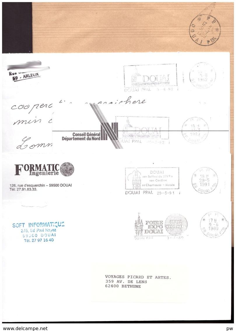 FRANCE '59 DOUAI PRINCIPAL PP' 1989/92  5 MARQUES POSTALES - Marcophilie (Lettres)