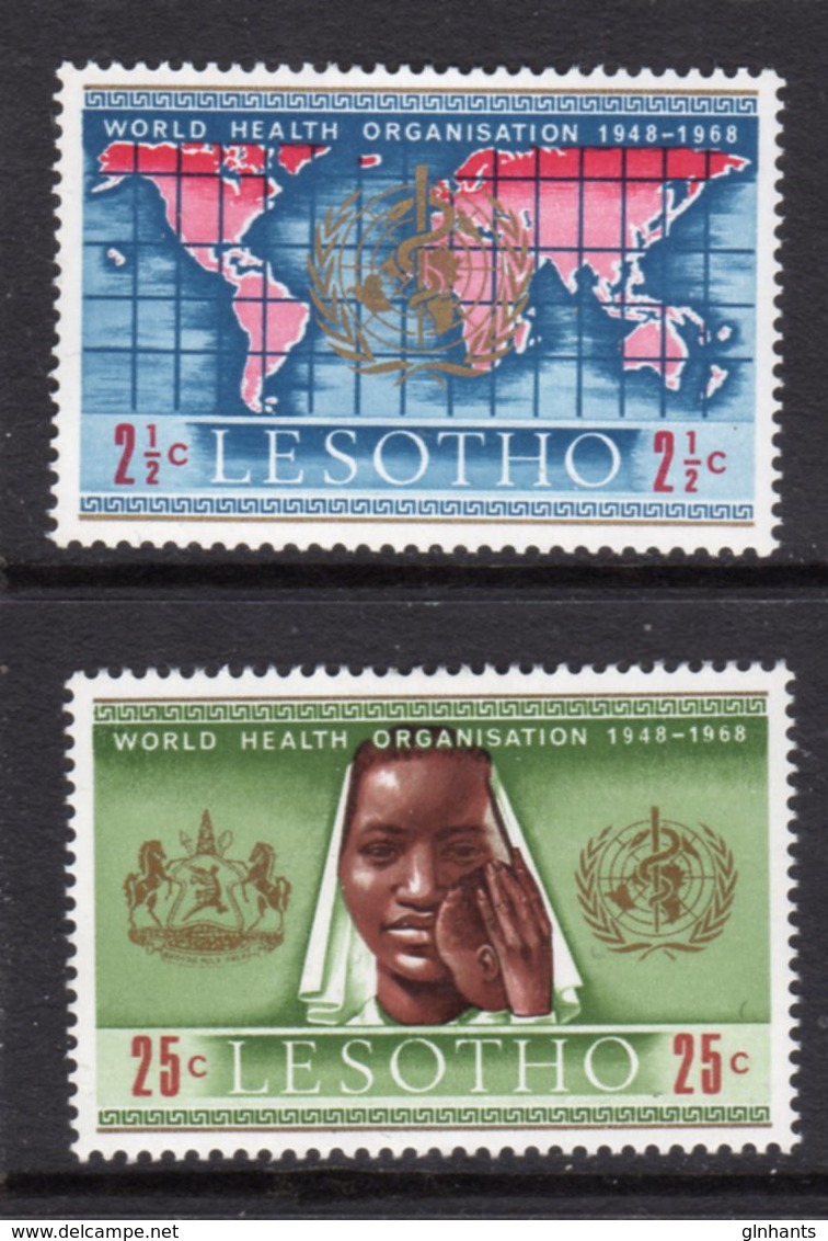 LESOTHO  - 1968 WHO WORLD HEALTH ORGANISATION ANNIVERSARY SET (2V) FINE MOUNTED MINT MM * SG 145-146 - Lesotho (1966-...)