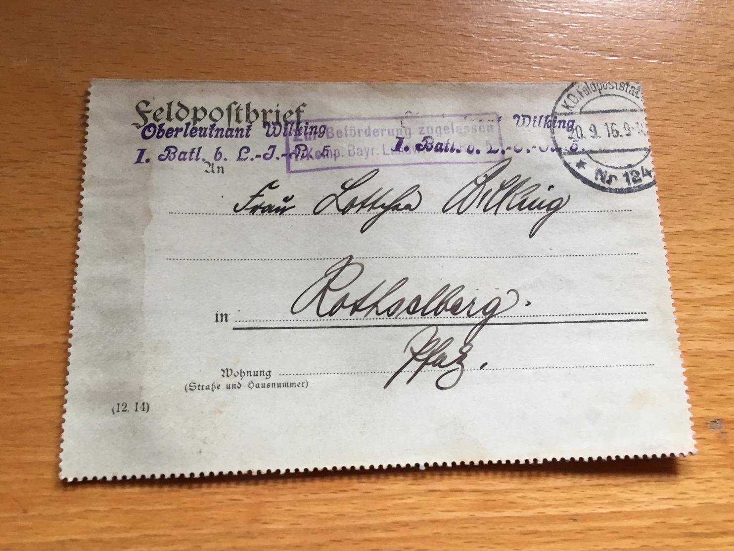 FELDPOST 1. WK  1. Batl. B. L.-J.R ZUR BEFÖRDERUNG FREIGEGEBEN 1916 - Deutschland