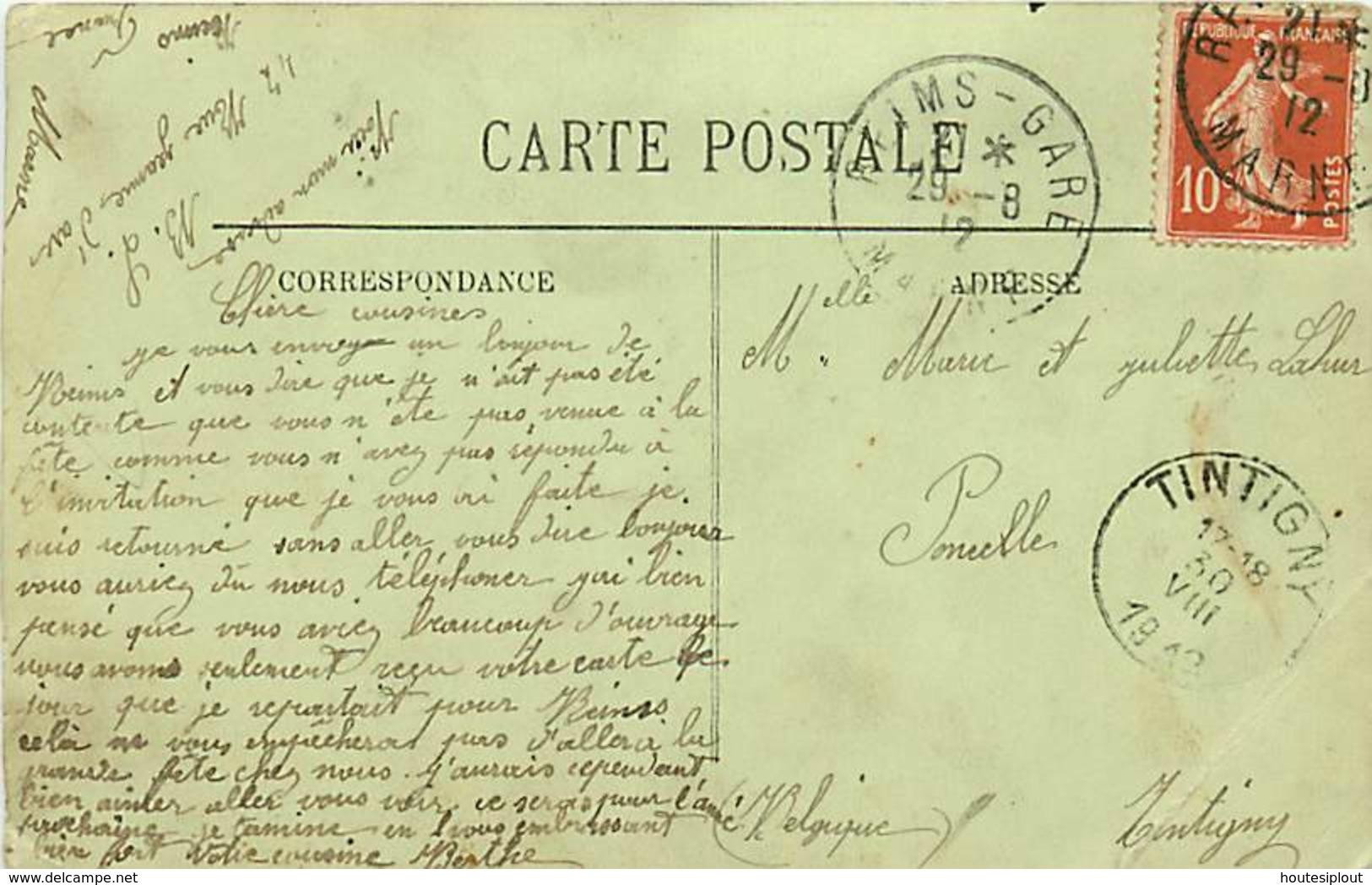 Belgique.  CPI Reims > Poncelle Tintigny   1912 - Marcophilie