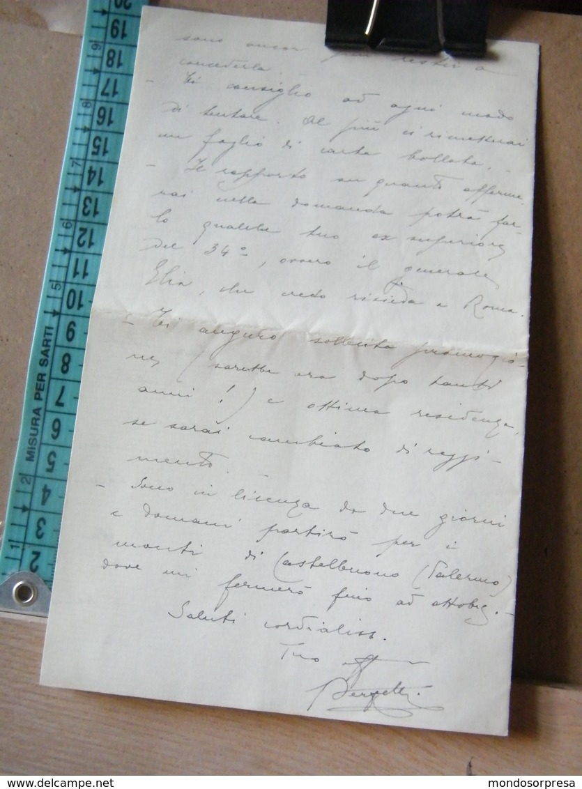 MONDOSORPRESA, PALERMO , LETTERA MANOSCRITTO ANNO 1923 - RODI - EGEO - DE MARCHI - Documenti