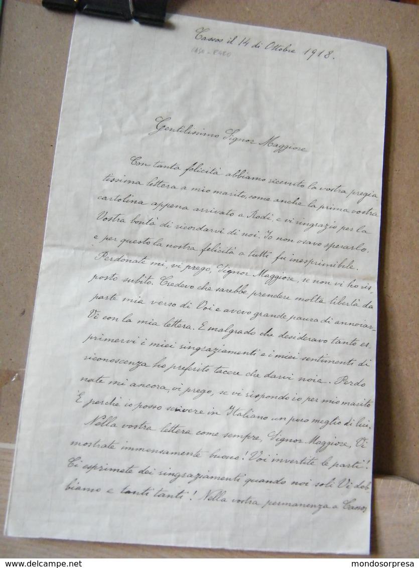 MONDOSORPRESA, PALERMO , LETTERA MANOSCRITTO ANNO 1918 - KASOS, CASO, EGEO, LA SERVA AL MAGGIORE - Documenti