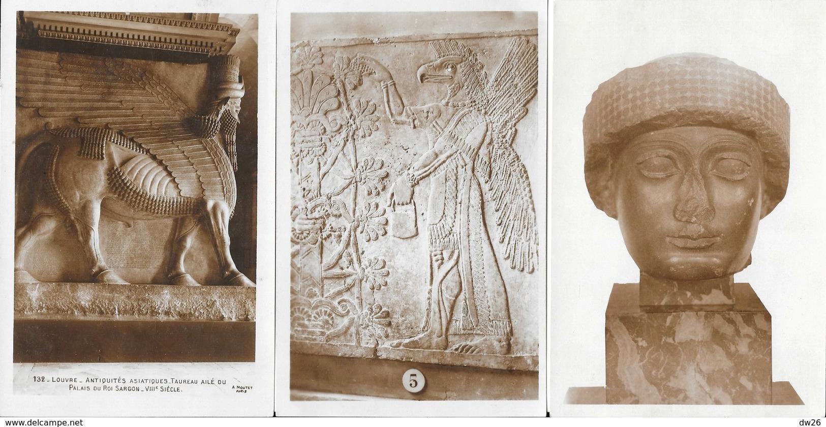 Louvre - Antiquités Asiatiques: Guerriers Assyriens, Tête Chaldéenne, Dieu, Lois Du Roi.. - Lot De 9 Cartes Non Circulée - Ancient World