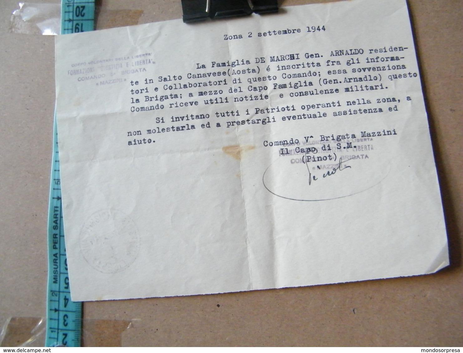MONDOSORPRESA, CORPO VOLONTARI DELLA LIBERTA' 5° BRIGATA MAZZINI ANNO 1944 - ZONA 2 - SALTO CANAVESE - Documenti