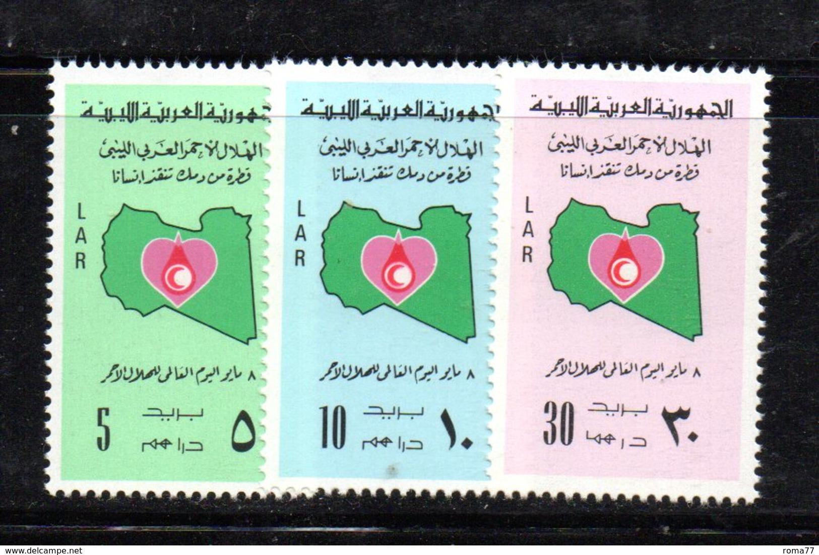 APR2289 - LIBIA LYBIA 1977 , Serie Yvert  N. 630/632  ***  MNH  Croce Rossa - Libia