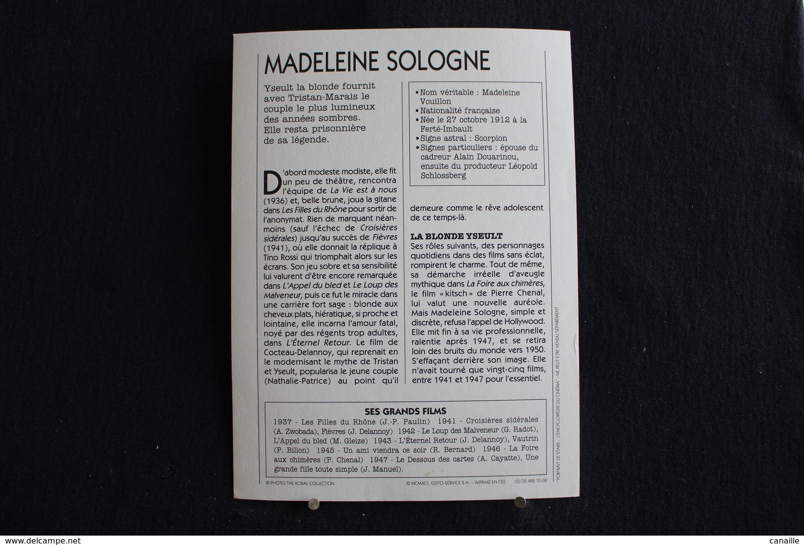 Sp-Actrice, Française, 1945 - Madeleine Sologne Née En 1912 à La Ferté-Imbault, Morte En 1995 à Vierzon (Cher),france. - Acteurs