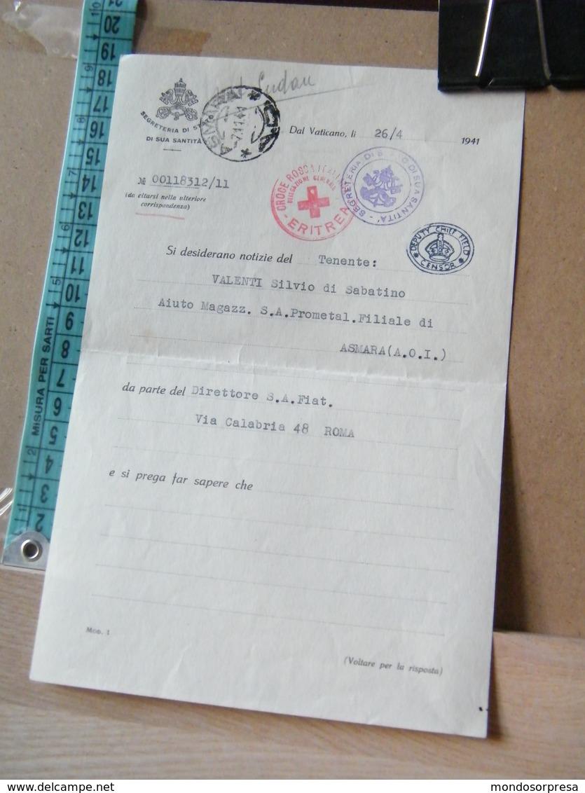 MONDOSORPRESA, SEGRETERIA DI STATO SUA SANTITA', CROCE ROSSA ERITREA ANNO 1941, TENENTE PRIGIONIERO - Documenti