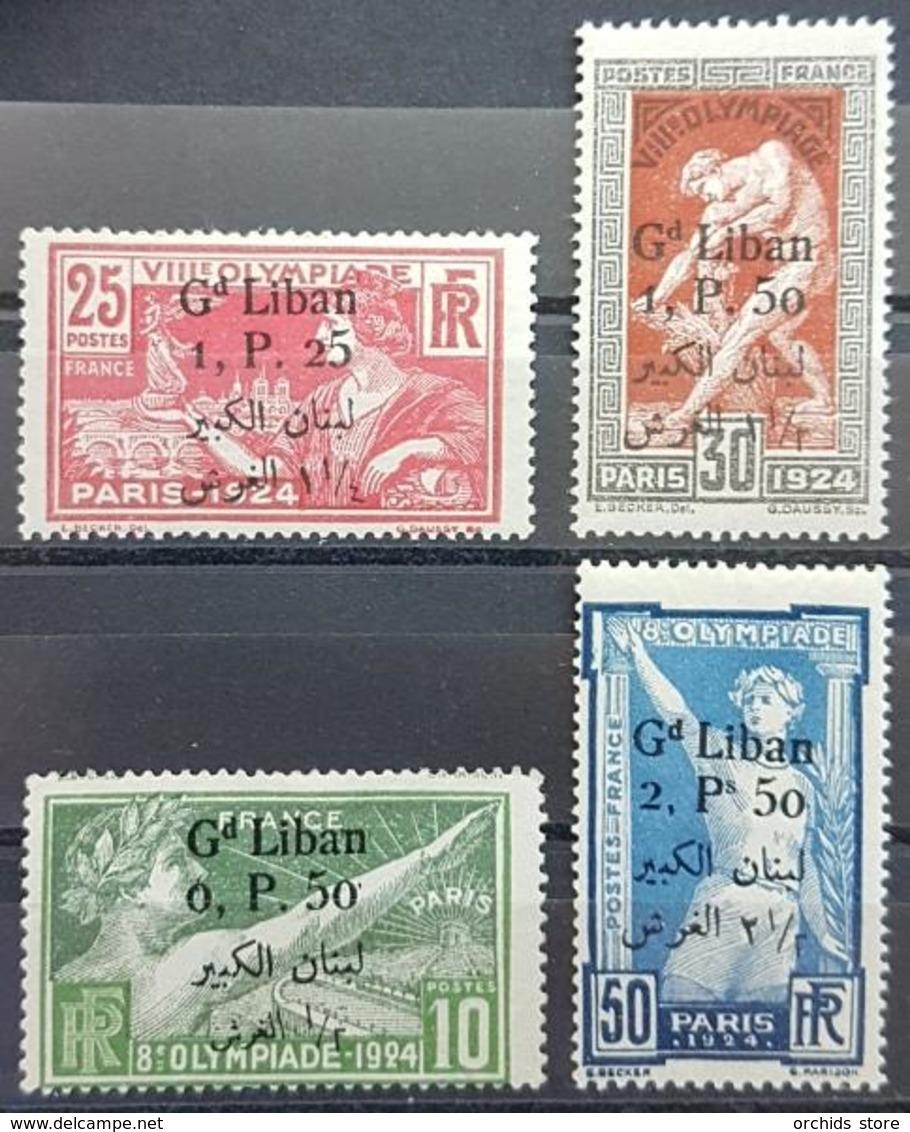 UT - Lebanon 1924 Complete Set 4v. Mi. 53-56 Grand Liban Bi-lingual Olympic Games - 3 MNH Stamps, One MH - Lebanon