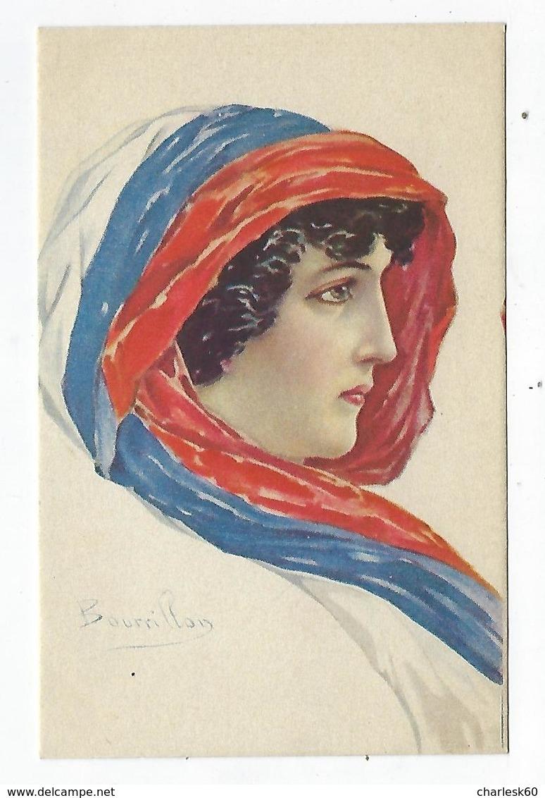 CPA Femme - Coiffe - Mode -  Patriotique - Illustrateur Bourillon - Drapeau Français - Patriottisch