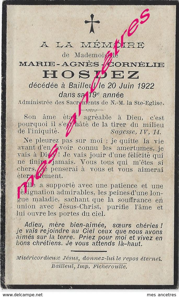 En 1922-Bailleul (59)- Marie-Agnès HOSDEZ 19 Ans - Décès