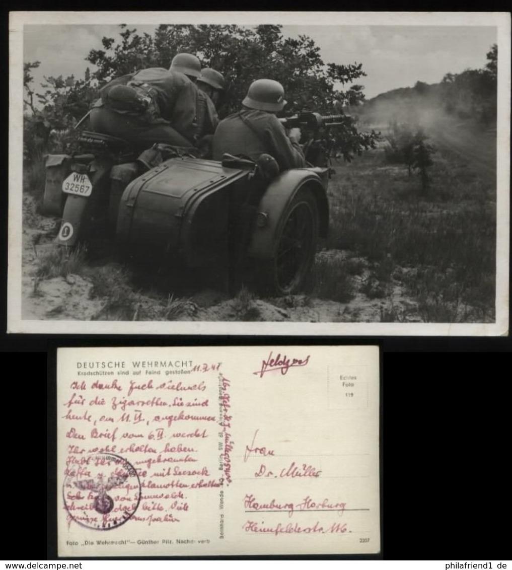 WW II Postkarte Militär: Motorrad , Kradschützen Sind Auf Feind Gestoßen ,gebraucht Feldpost - Hamburg 1941 , Bedarfse - War 1939-45