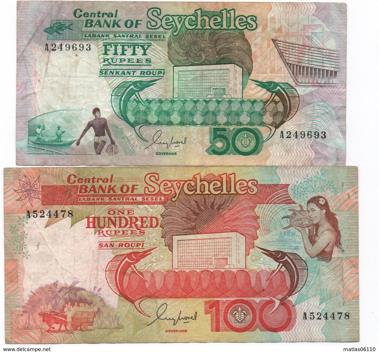 SEYCHELLES -1989 - 2 Billets  ( 50 Et 100 Rupees )   Circulés - Seychellen