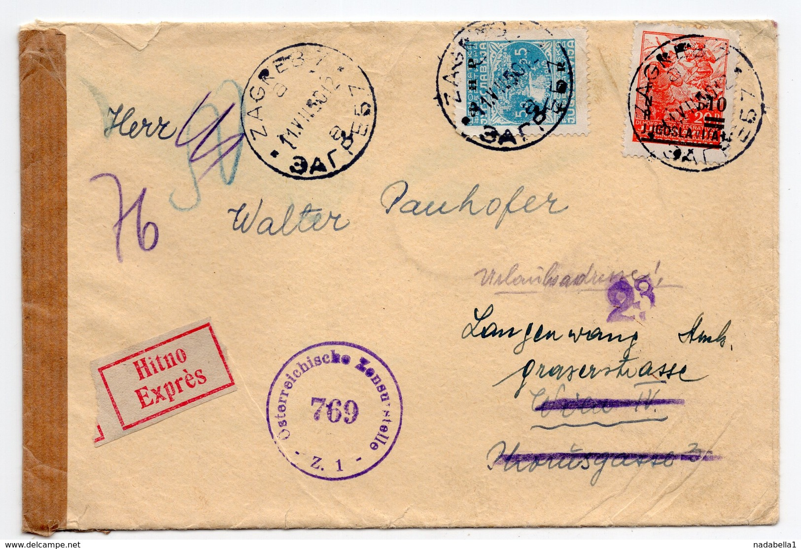 11.07.1950. YUGOSLAVIA, CROATIA, ZAGREB TO VIENNA, CENSORED IN AUSTRIA,REDIRECTED, REGISTERED MAIL - 1945-1992 Socialist Federal Republic Of Yugoslavia