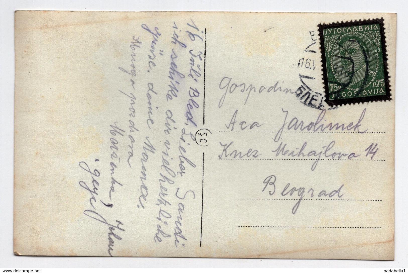 16.07.1935 YUGOSLAVIA, SLOVENIA, BLED TO BELGRADE, ORIGINAL PHOTOGRAPH, VINTAGE CAR, ILLUSTRATED POSTCARD USED - Yugoslavia