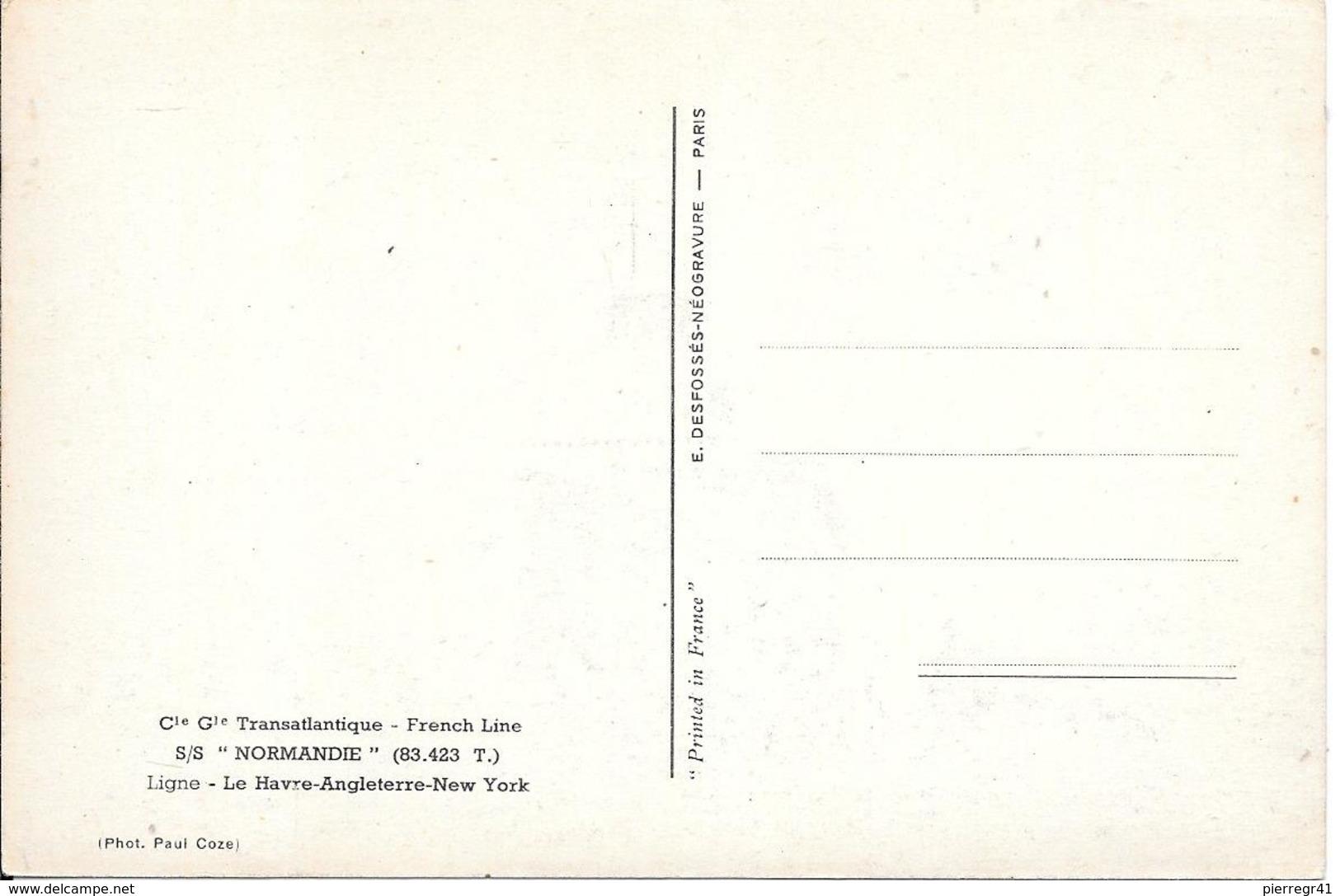 CPA-1938-PAQUEBOT-NORMANDIE-Départ De NEW YORK-TBE-Edit Désfossés-TBE-RARE - Paquebots