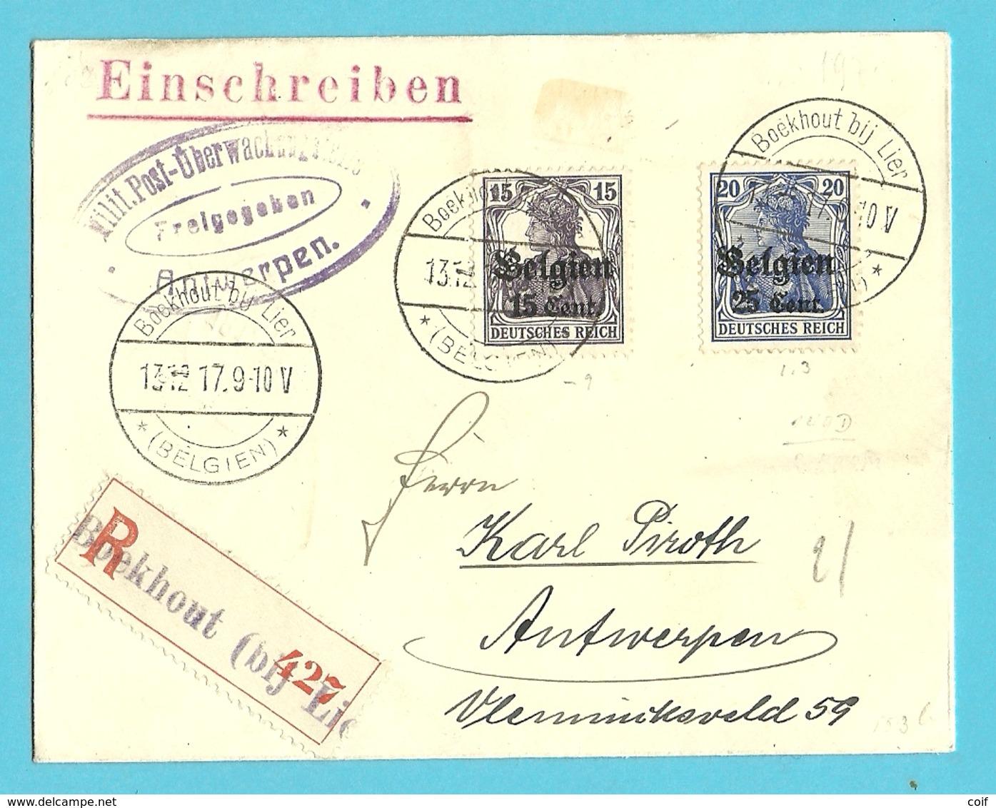 BZ 16+18 Op Brief Aangetekend Stempel BOEKHOUT BIJ LIER   !! Met Censuur Antwerpen        (Bouchout Bij Lier) - WW I