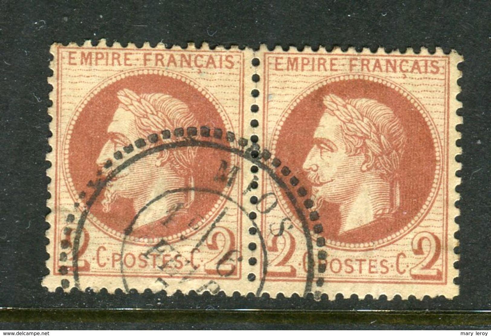 Rare Paire De N° 26 Cachet Perlé De MIOS - 1863-1870 Napoléon III Lauré