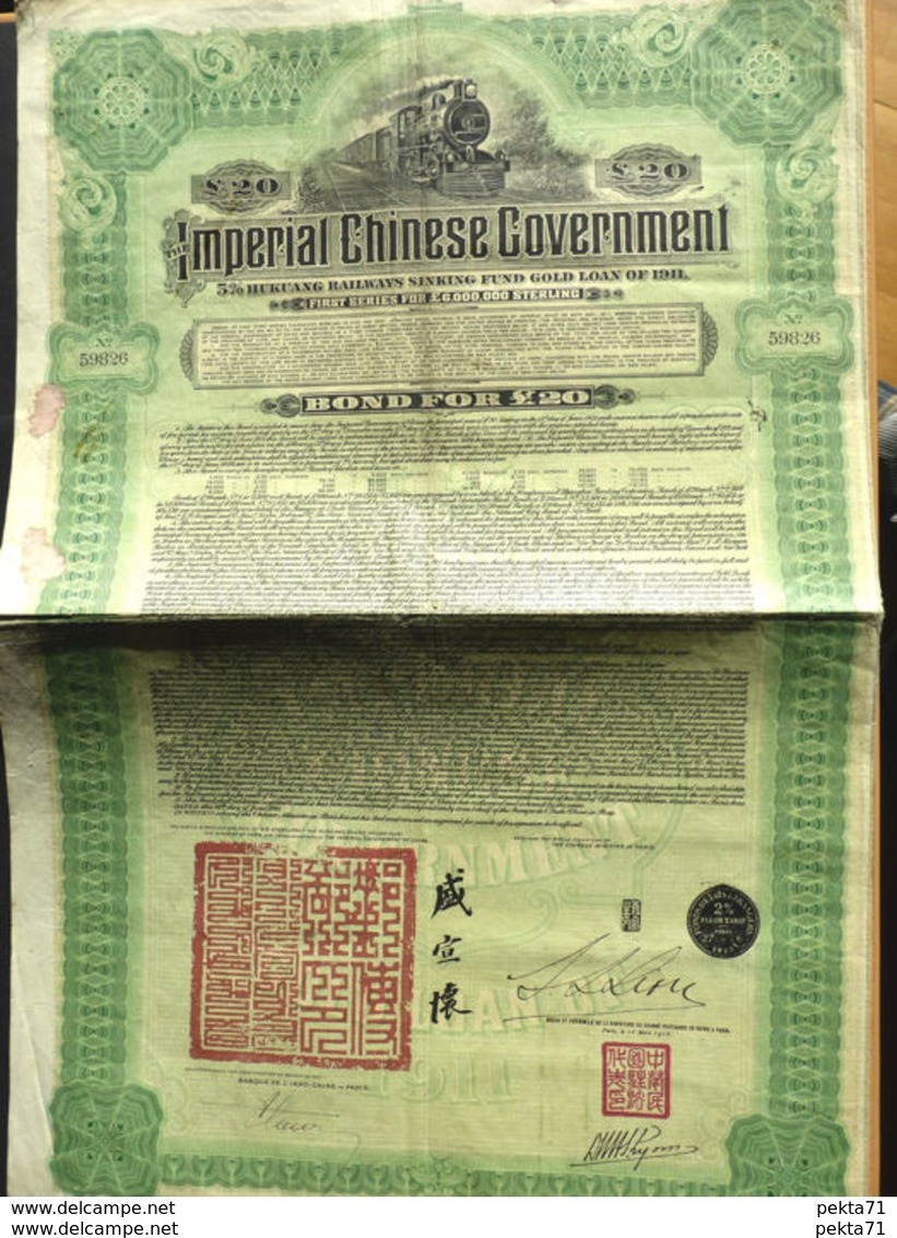 Imperial Chinese Government - 5% Hukuang Railways Sinking Fund Gold Loan - - Asie