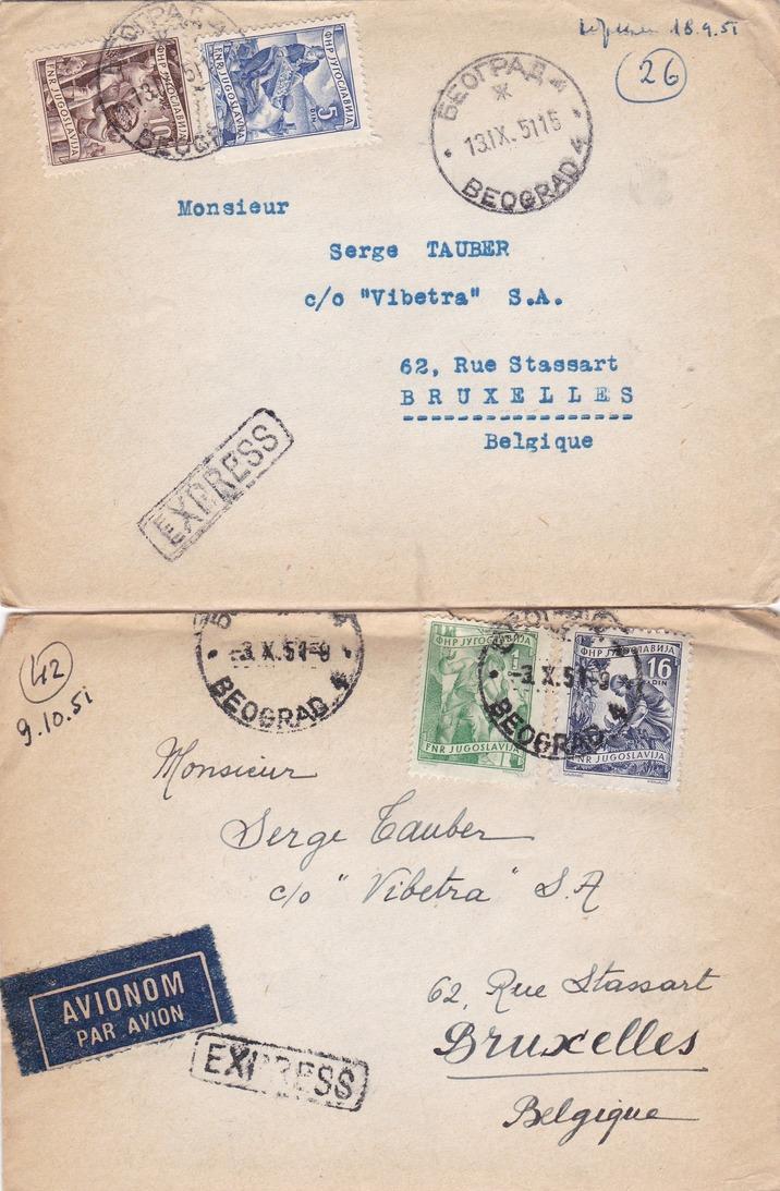 YOUGOSLAVIE  :  10  LETTRES  RECOMMANDEE  ( 1 )  Ou  EXPRESS ( 9 )  De  1951  Pour La  BELGIQUE  . - Lettres & Documents