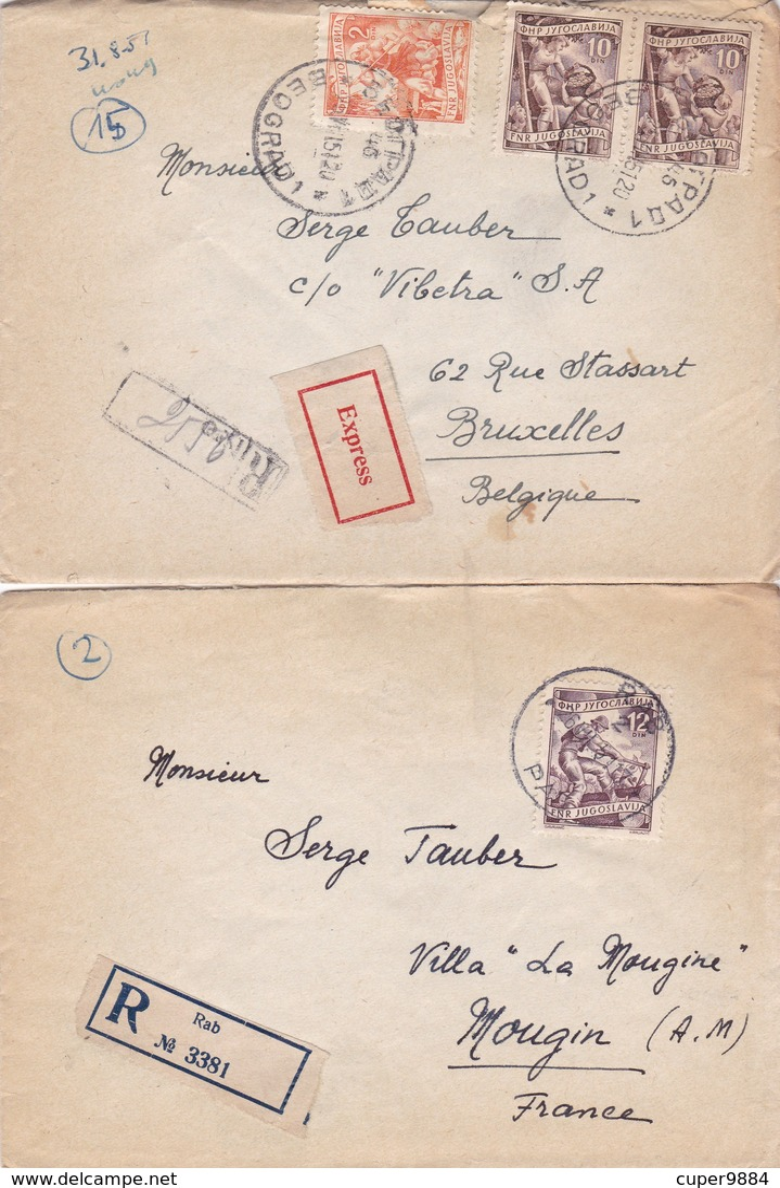 YOUGOSLAVIE  :  10  LETTRES  RECOMMANDEE  ( 1 )  Ou  EXPRESS ( 9 )  De  1951  Pour La  BELGIQUE  . - Cartas