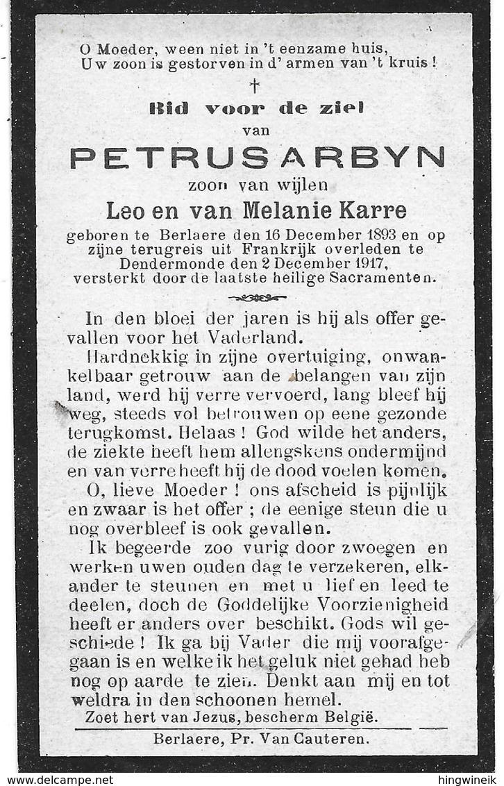 Arbyn Petrus  (gesneuveld -berlare 1893 -dendermonde 1917) - Religión & Esoterismo