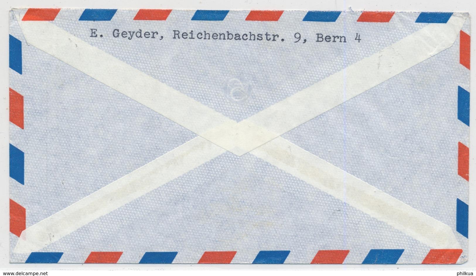 Portogerechte Mischfrankatur Auf Luftpostbrief Gelaufen - BERN - SAN PEDRO Californien - Pro Juventute