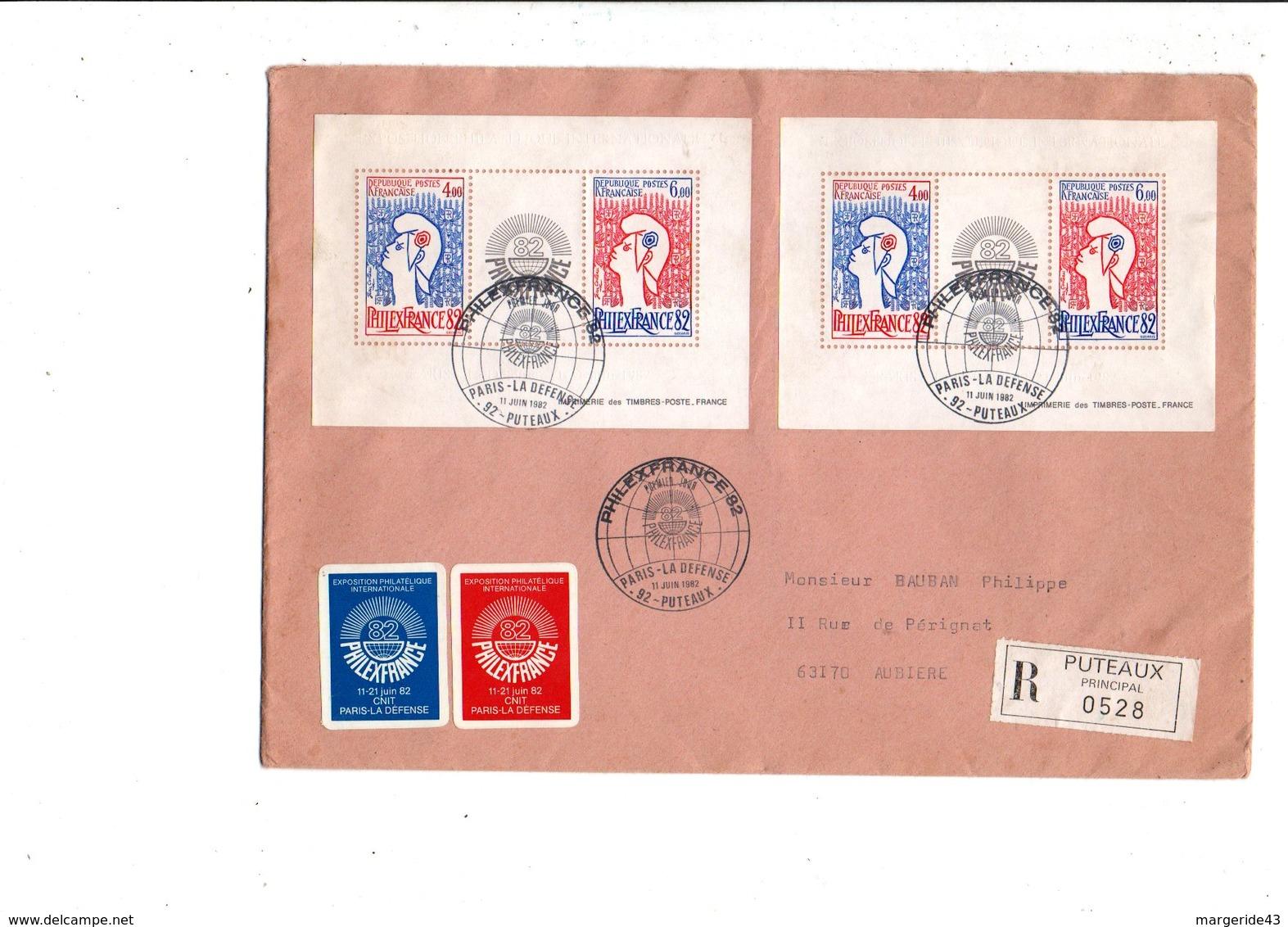 AFFRANCHISSEMENT COMPOSE DE 2 BF N°8 SUR LETTRE RECOMMANDEE DE PUTEAUX 1982 - Storia Postale