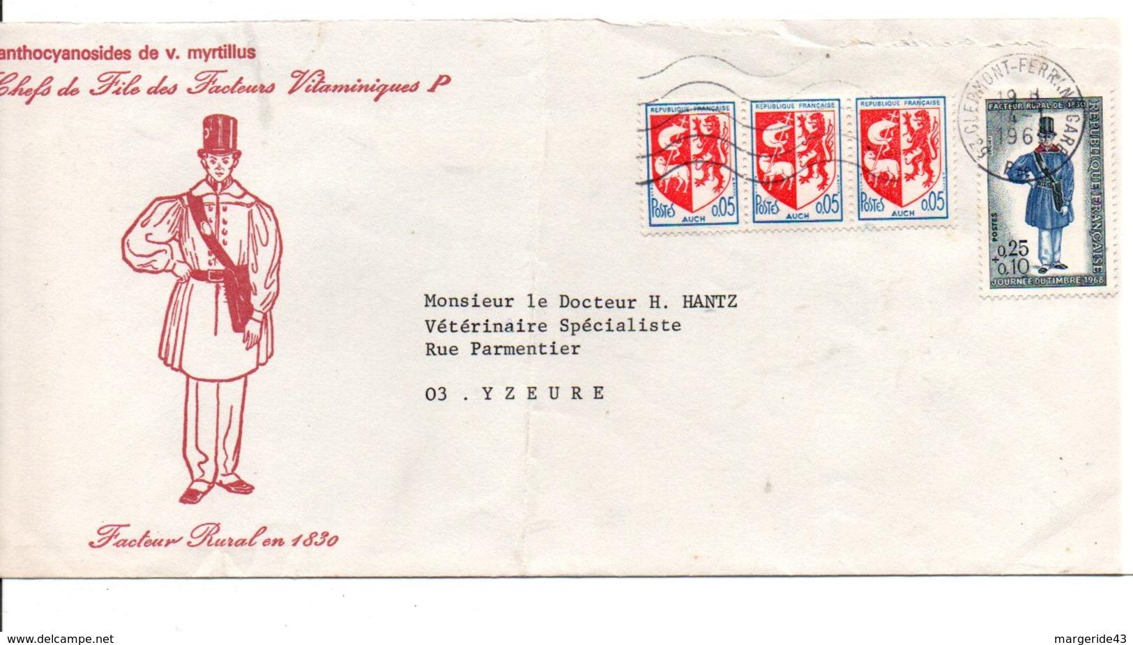 AFFRANCHISSEMENT COMPOSE SUR LETTRE DE CLERMONT FERRAND 1969 - 1961-....