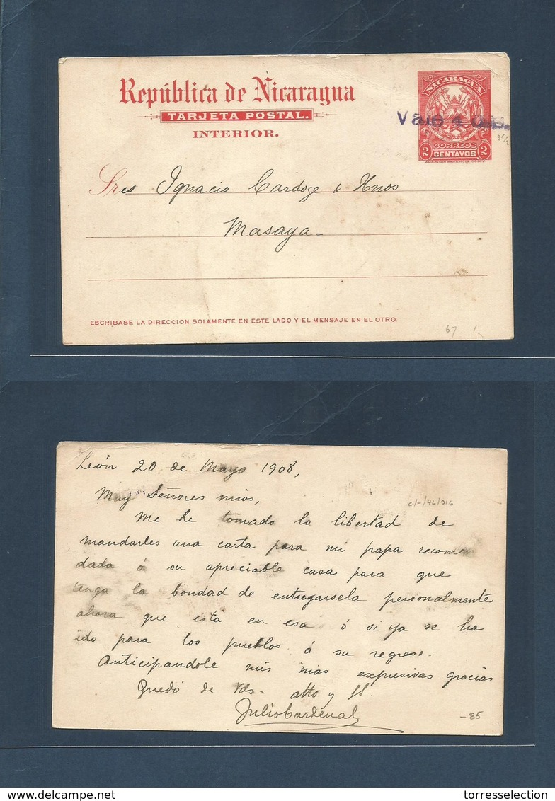 """NICARAGUA. 1908 (20 Mayo) Leon - Masaya. Local """"Vale 4c Ovptd 2c Red Stat Card. Fine Internal Usage With Comercial Text. - Nicaragua"""