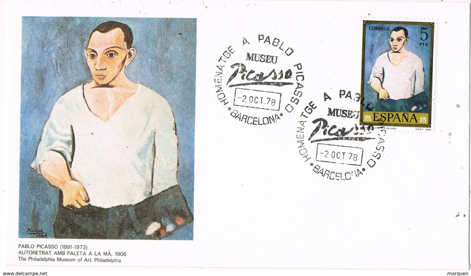 33669. Carta BARCELONA 1979. Homenaje A PABLO PICASSO. Autoretrato - 1931-Hoy: 2ª República - ... Juan Carlos I
