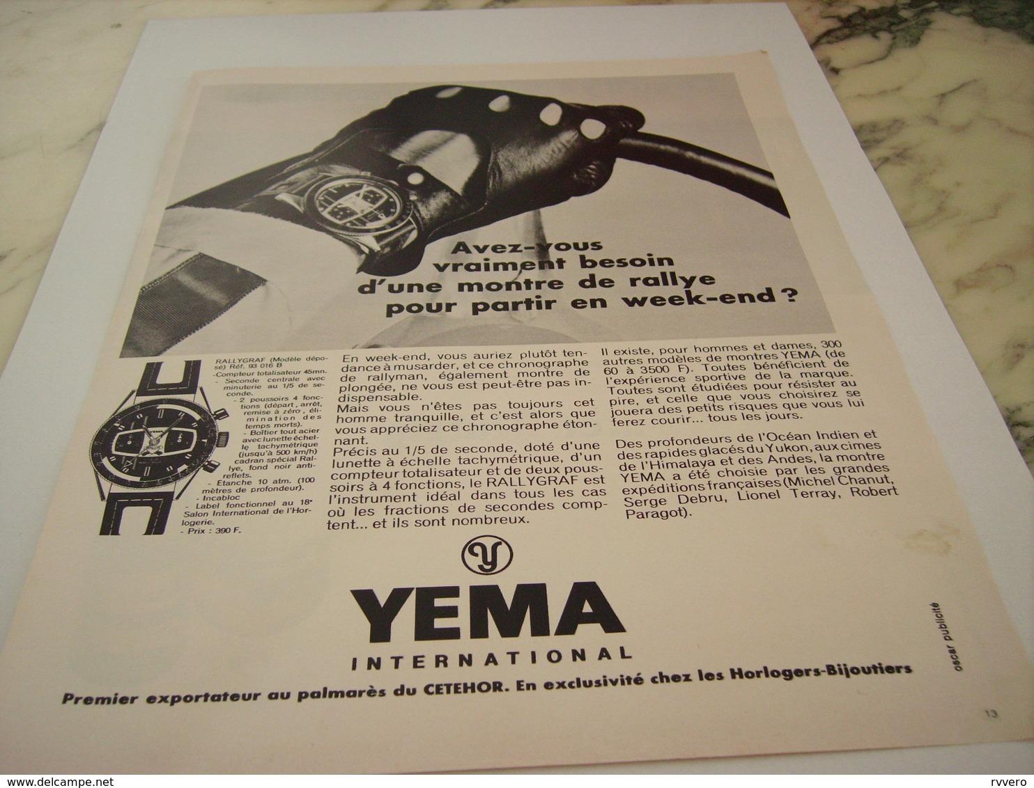 ANCIENNE PUBLICITE MONTRE DE RALLYE LA RALLYGRAF  YEMA 1968 - Gioielli & Orologeria