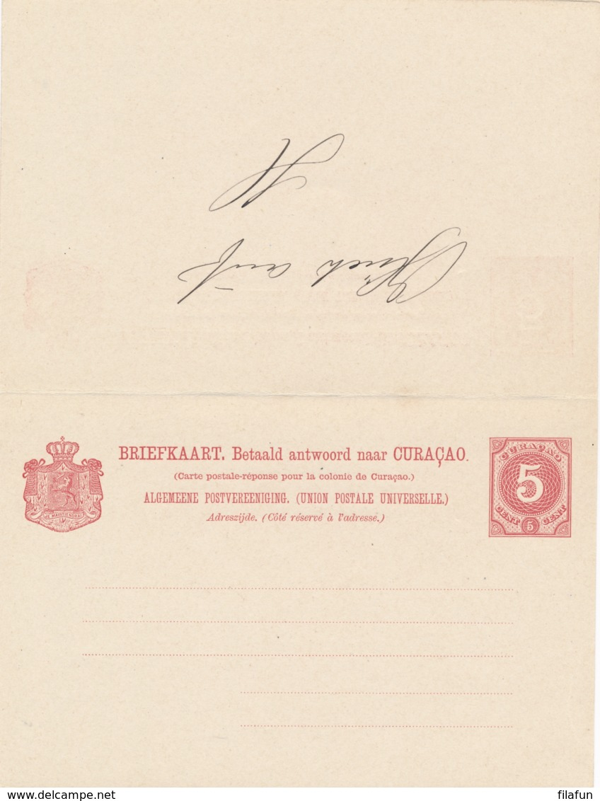 Curacao - 1893 - 5+5 Cent Cijfer, Briefkaart G12 - Filatelistisch Gebruikt Met VK Curacao - Curaçao, Nederlandse Antillen, Aruba