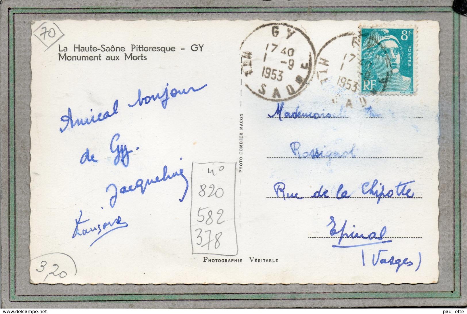 CPSM Dentelée - GY (70) - Aspect Du Monument Aux Morts Devant La Mairie En 1953 - Frankreich