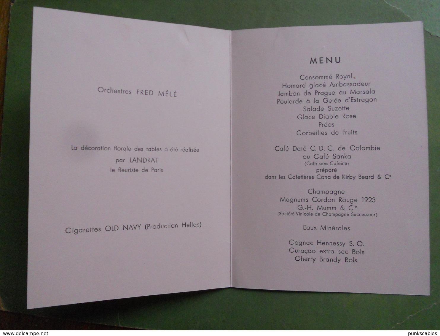 MENU BAL DES PETITS LITS BLANCS DINER 4 JUIN 1935 ORCHESTRE FRED MELE PETITE TRACE DE TROMBONE EN HAUT - Menus