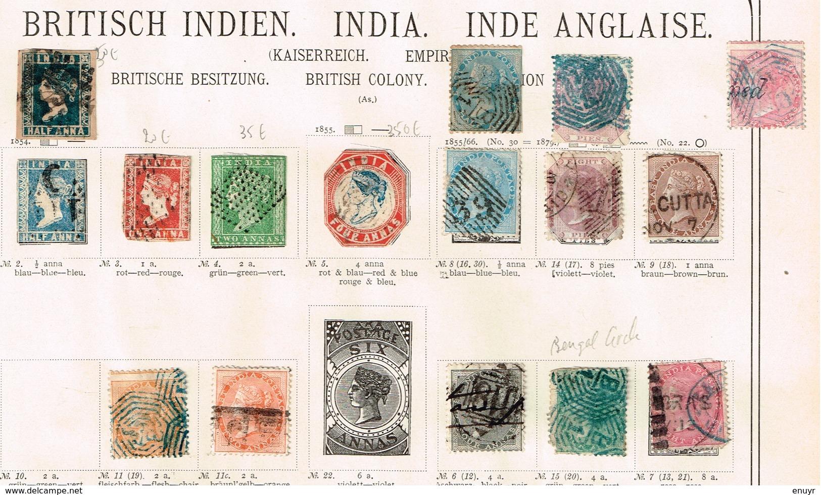 Indes Anglaises Ancienne Collection Sur Feuilles D'époque - Collections (sans Albums)