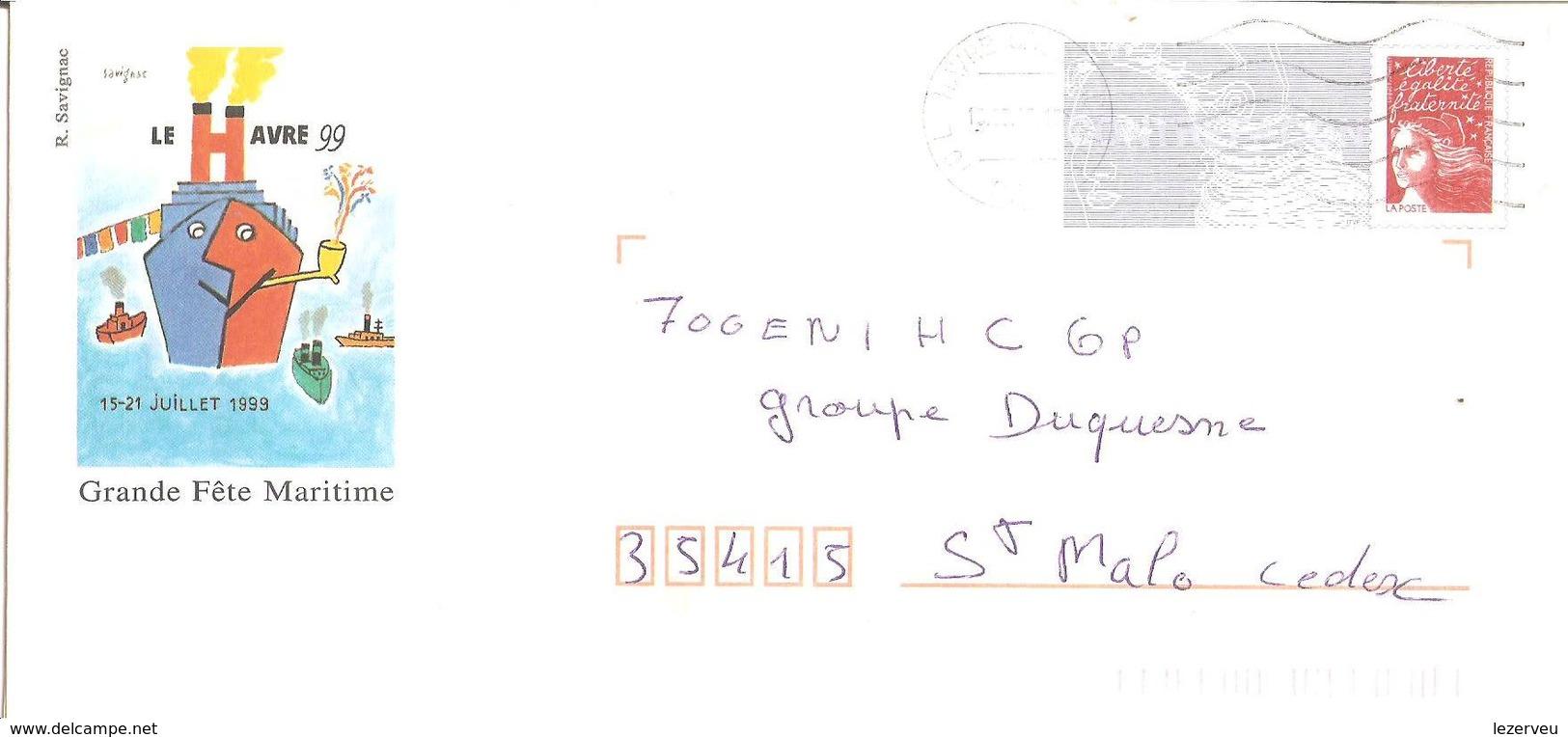 CACHET OBLITERATION LE HAVRE SUR  ENVELOPPE 22X11 JUILLET 99 GRANDE FETE MATRITIME - 1961-....