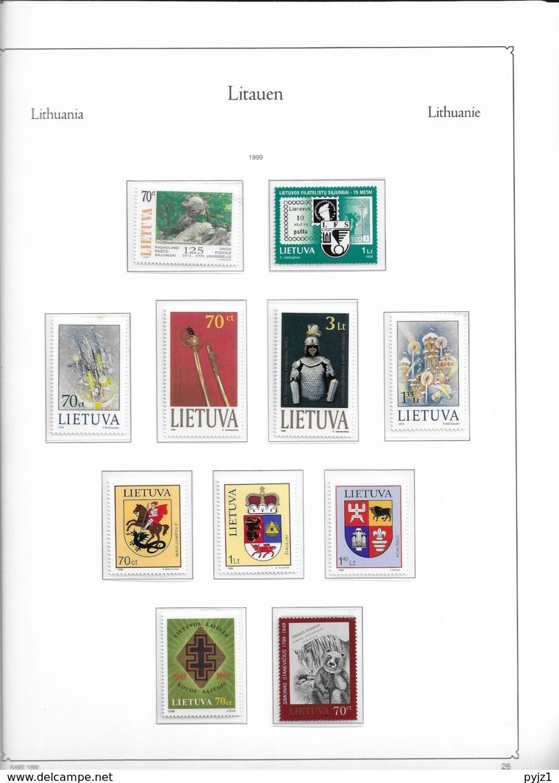 1999 MNH Lituania Year Collection Postfris** - Lituania