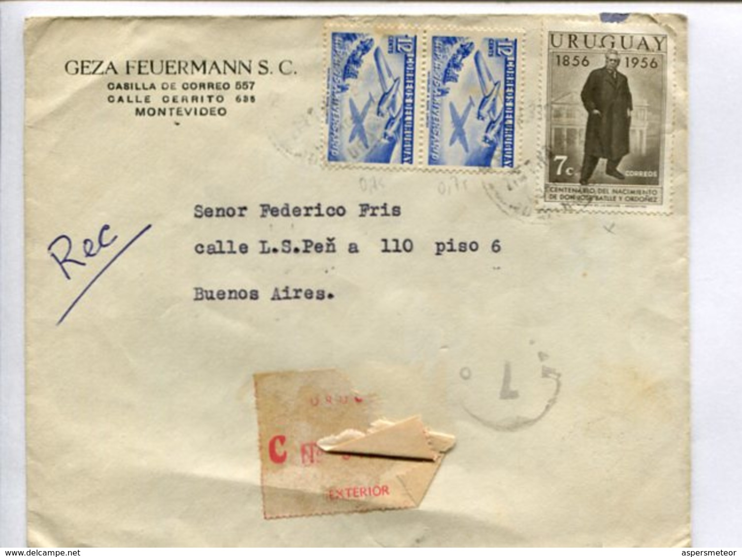 ENVELOPE COMMERCIAL CIRCULATED FROM MONTEVIDEO, URUGUAY TO BUENOS AIRES, ARGENTINA. 1956 REGISTRED, CERTIFICADA -LILHU - Uruguay
