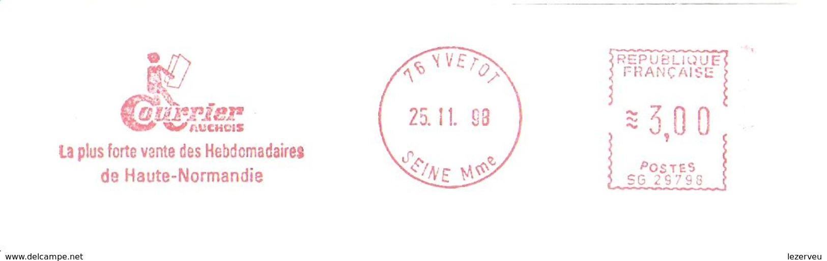 CACHET OBLITERATION FLAMME EMA YVETOT LE COURRIER AUCHOIS  ENVELOPPE 22X11 - 1961-....