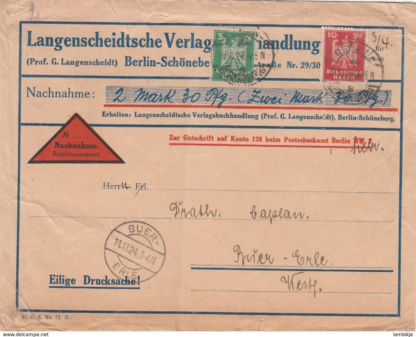 Deutsches Reich Firmenlochung / Perfin R Brief 1923 LV - Deutschland