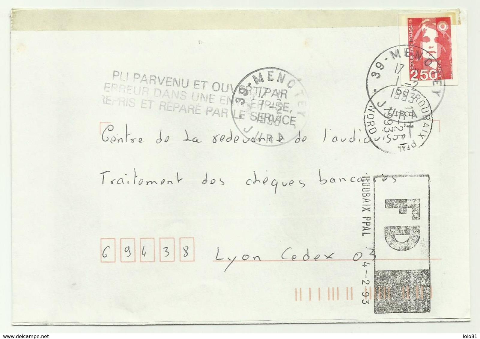 Lettre Roubaix PPAL Marque Fausse Direction 1993 - 1961-....